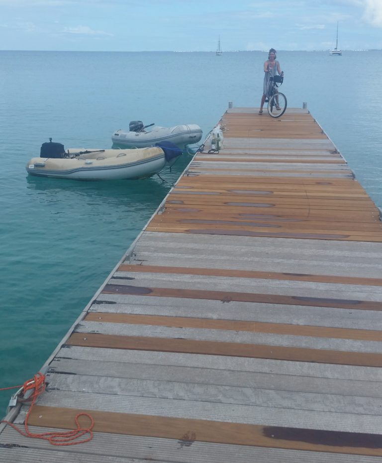 Kimberly riding to town from the newly repaired Grand Case dinghy dock
