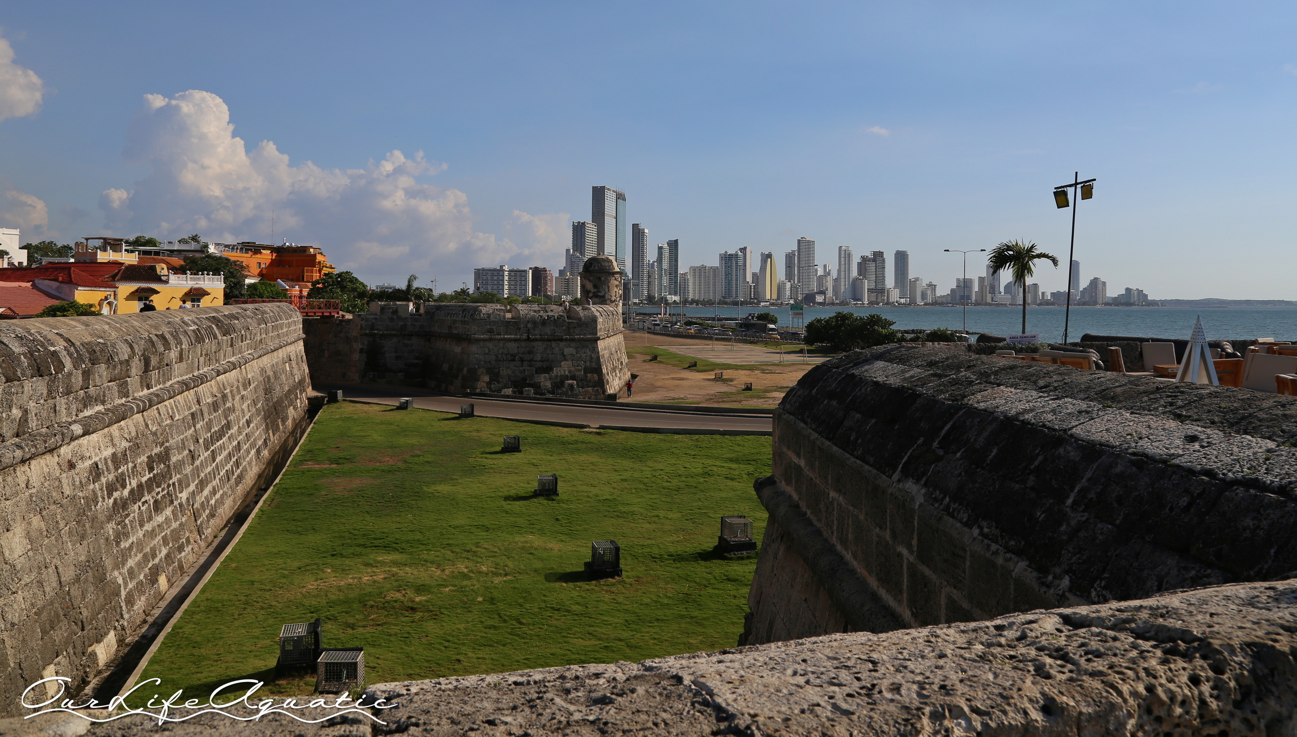 View of downtown Cartagena from atop the walled city