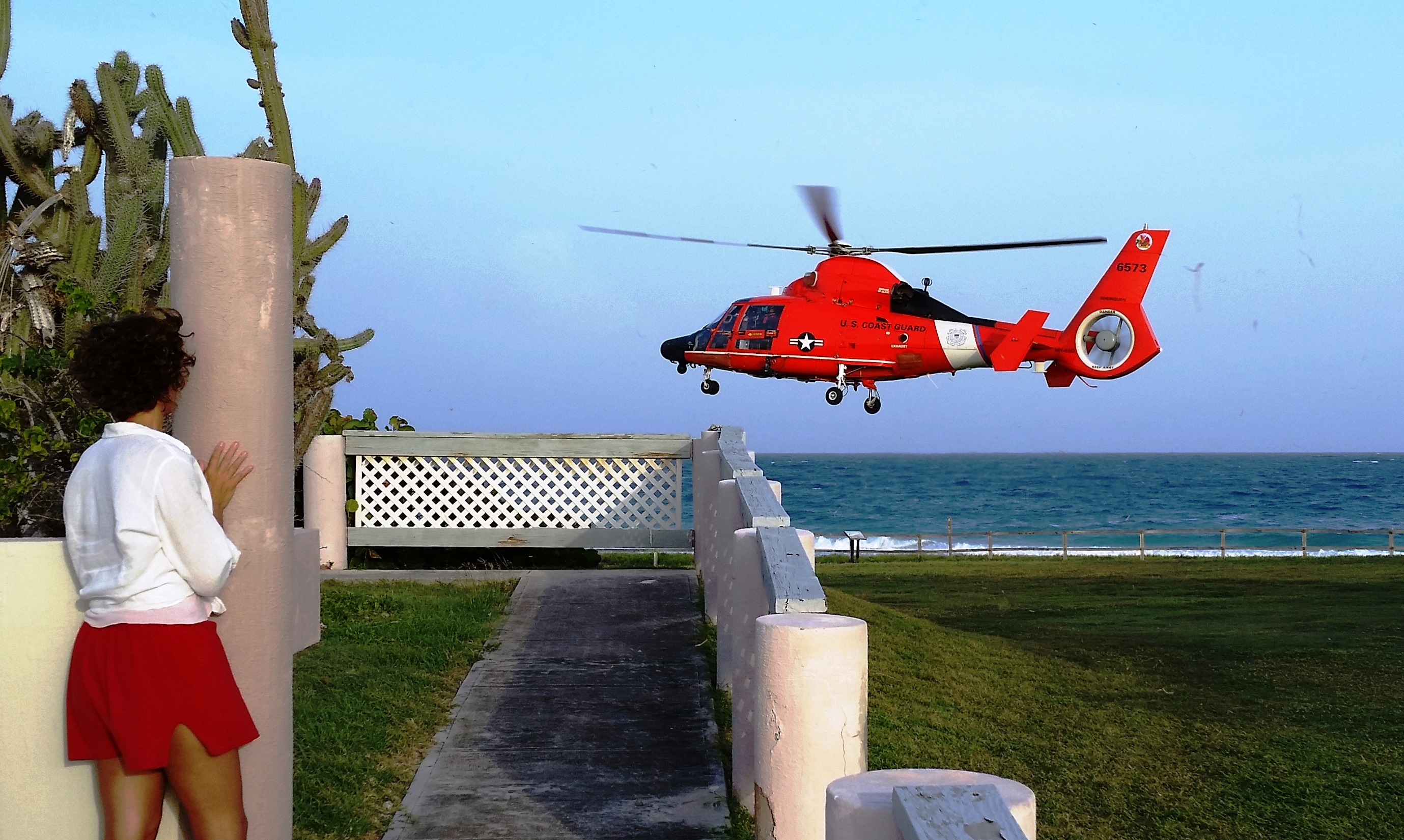 The U.S. Coast Guard helicopter coming in for a close landing