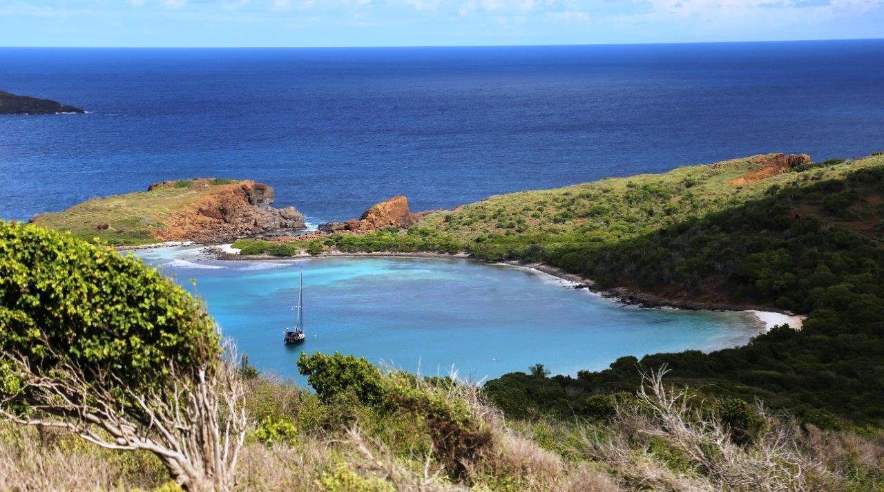 Lighthouse view of Pura Vida at anchor