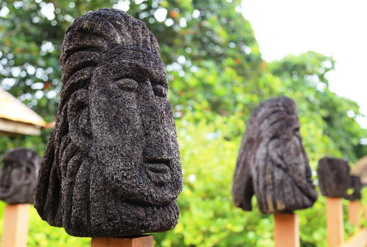 These heads are carved from trees