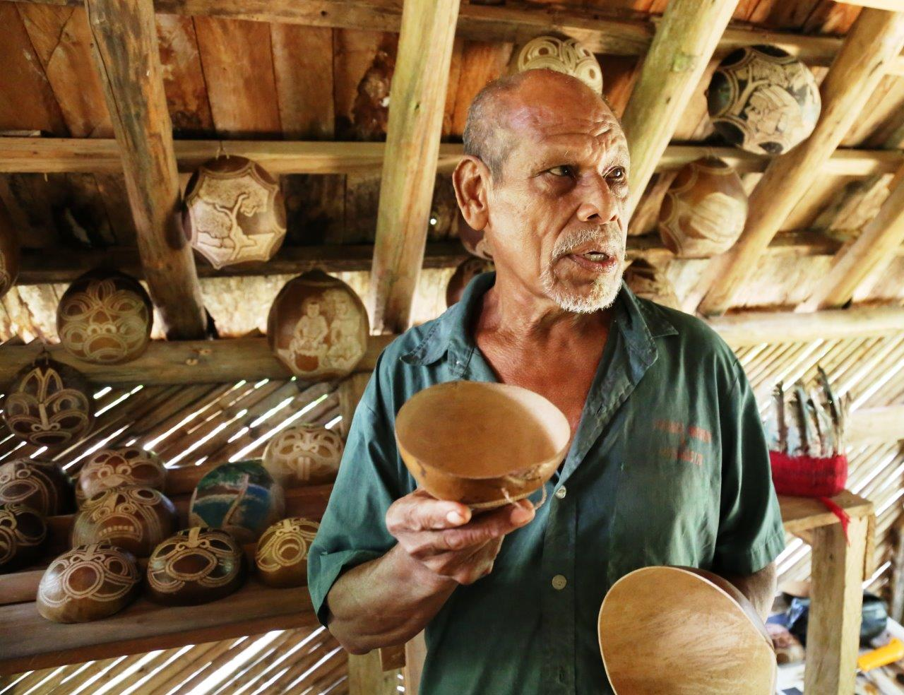 A past chief of the Kalinago tribe, now a craftsman of beautiful calabash sculptures