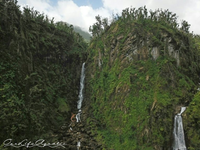 Two huge waterfalls at Trafalgar in Dominica
