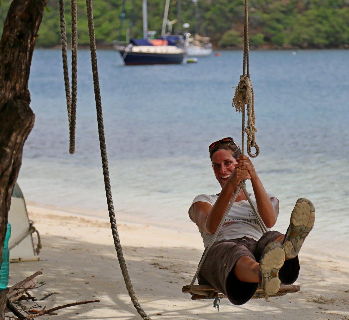 Swinging on the beach at Hog Island