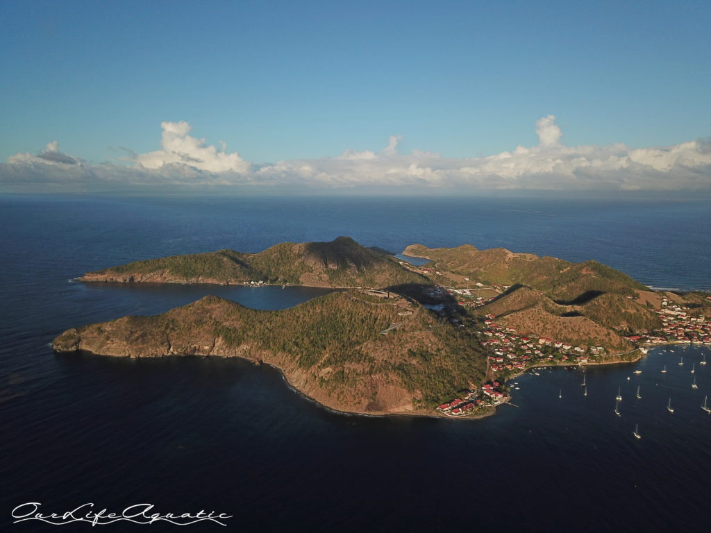 Flying drone over Terre-de-Haut, Guadeloupe