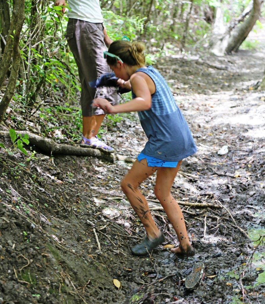 Losing a shoe in the muck on our hike of Hog Island