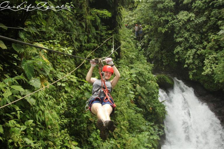 Michelle ziplining like a pro