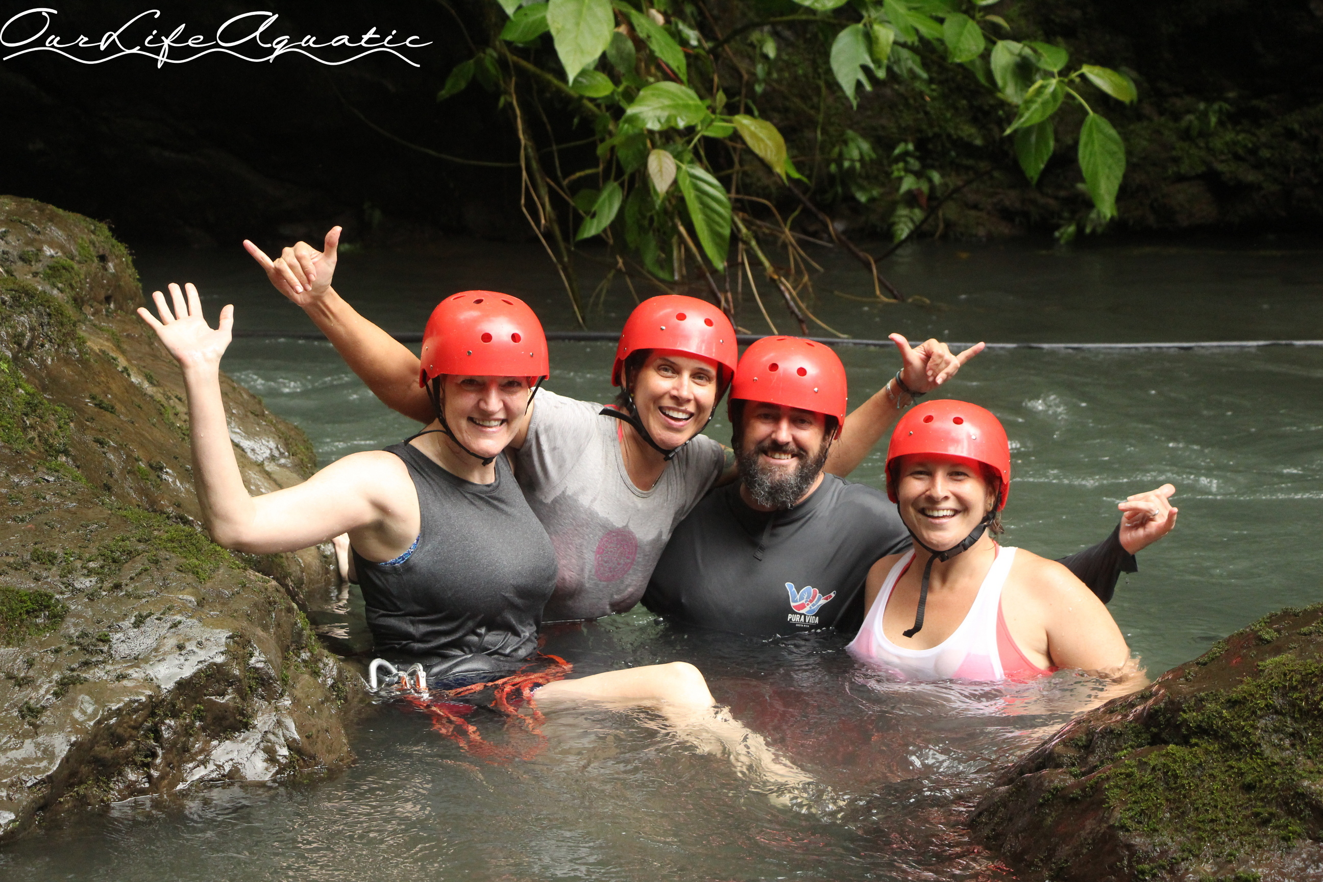 Cooling off after an adrenaline-filled day with Amigos Del Rio adventure tours (amigosdelrio.net)