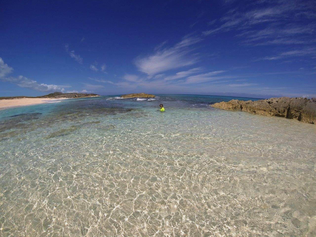 John-Michael taking a dip in Exuma Sound