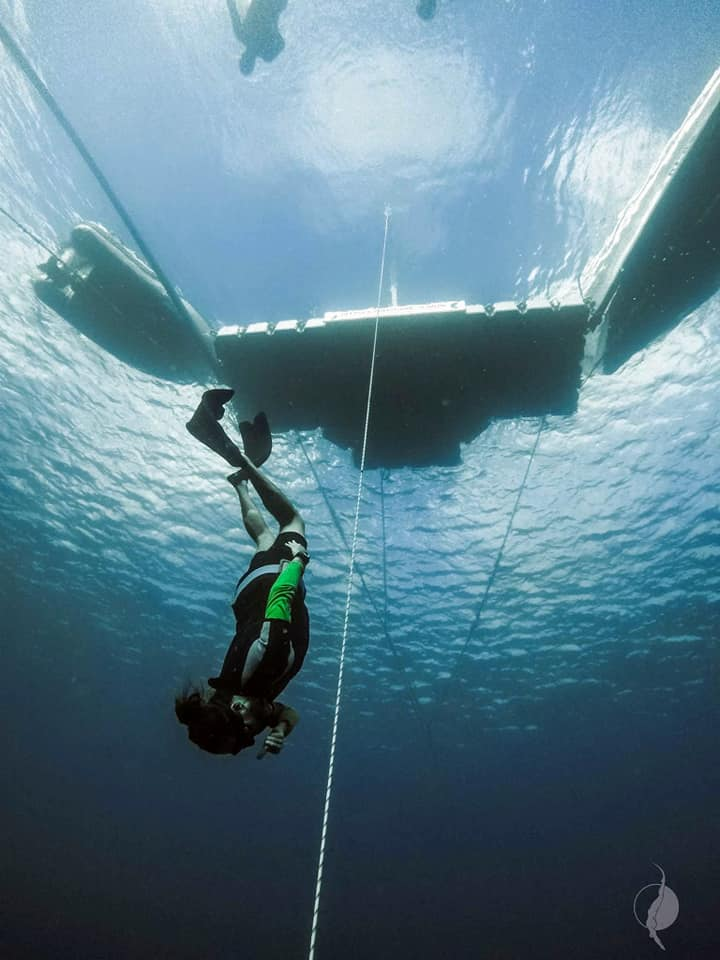 Working on proper form on the way down (Photo credit: Deep Sea Freediving)