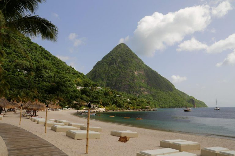 The beautiful Sugar Beach resort with Gros Piton in the background