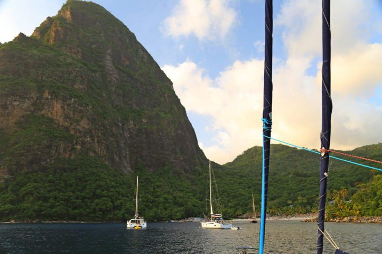 Moored under the shadow of Petit Piton