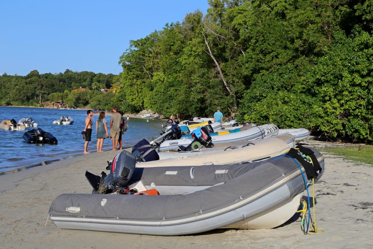Beach packed with dinghies for holiday potluck