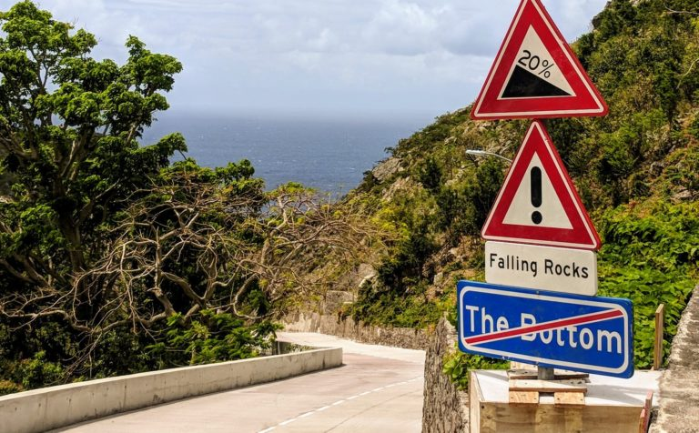 Every road on Saba is steep
