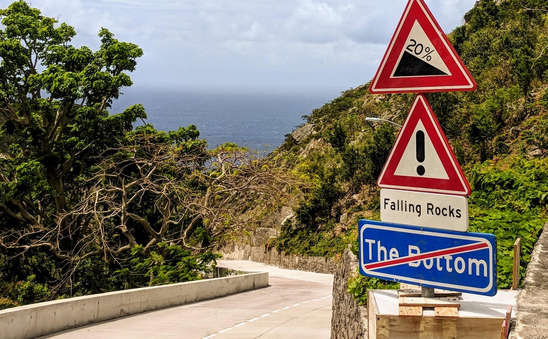 Every road on Saba is steep