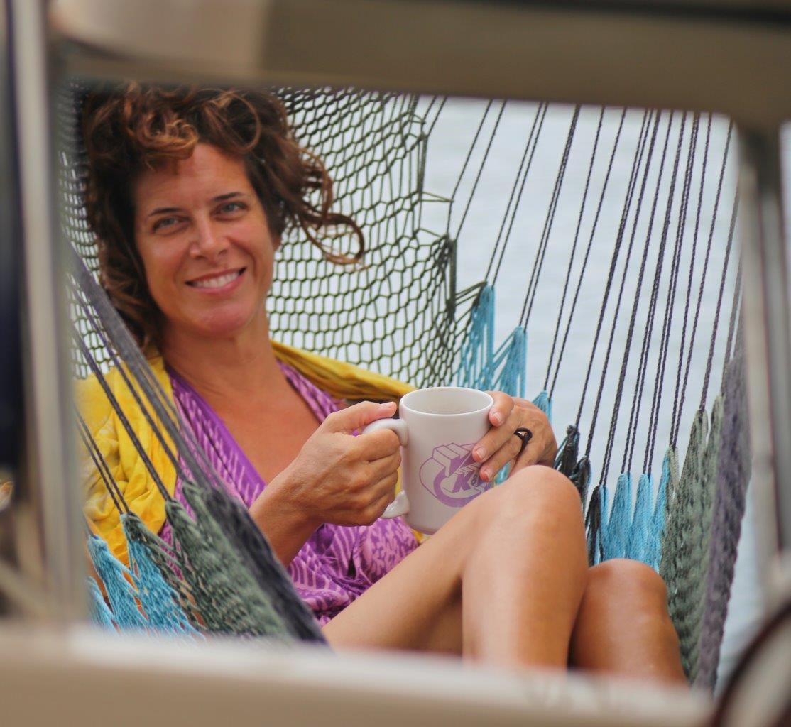 Kimberly's morning ritual on her swing