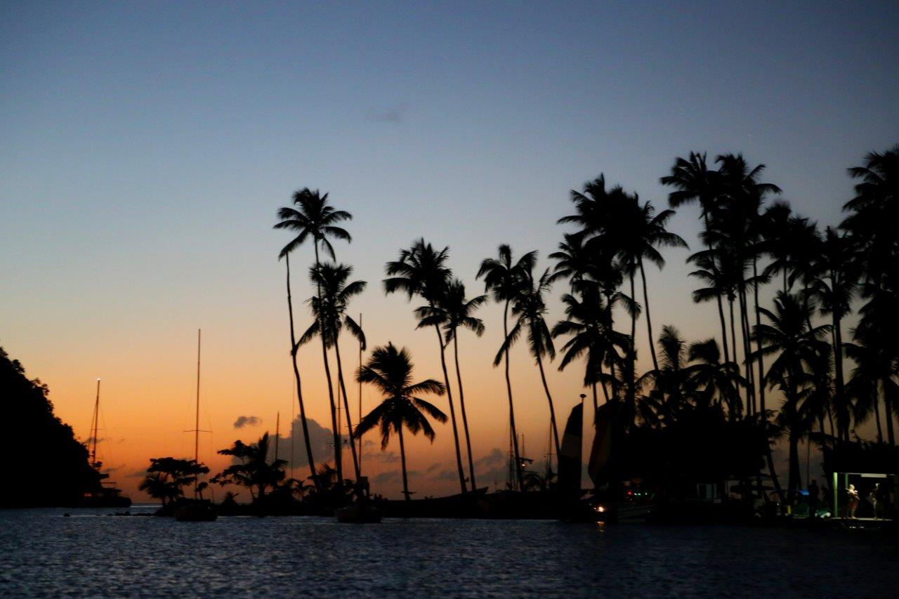 Our view at sunset in Marigot Bay