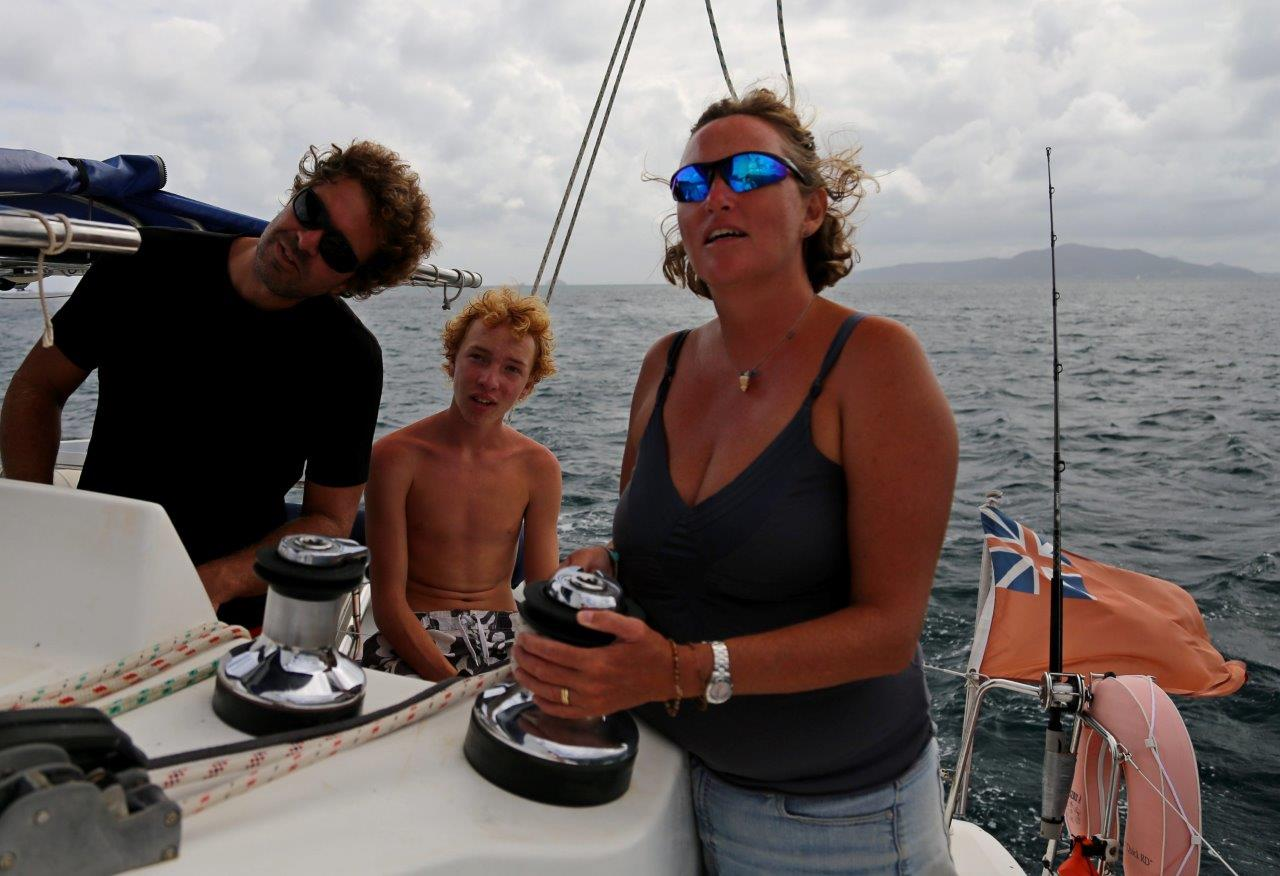 Our first-ever sail on a catamaran, thanks to our friends on sv Flip-Flos