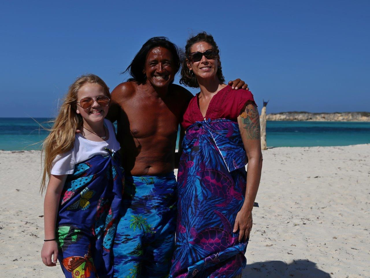 Audrey loved meeting Louie the sarong artist in Orient Beach