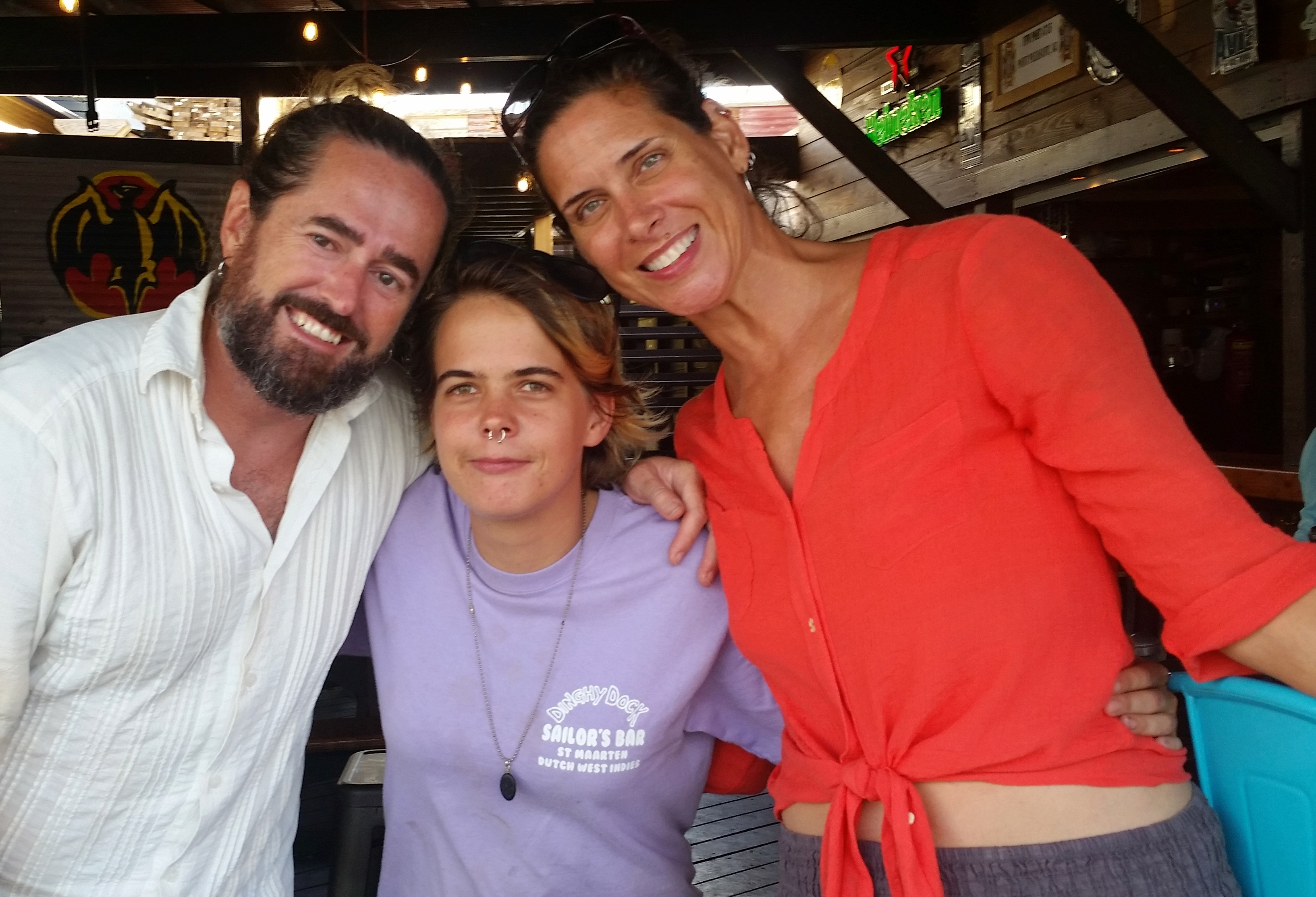 Saying farewell to Lauren, the bartender at our St. Martin hangout, The Dinghy Dock