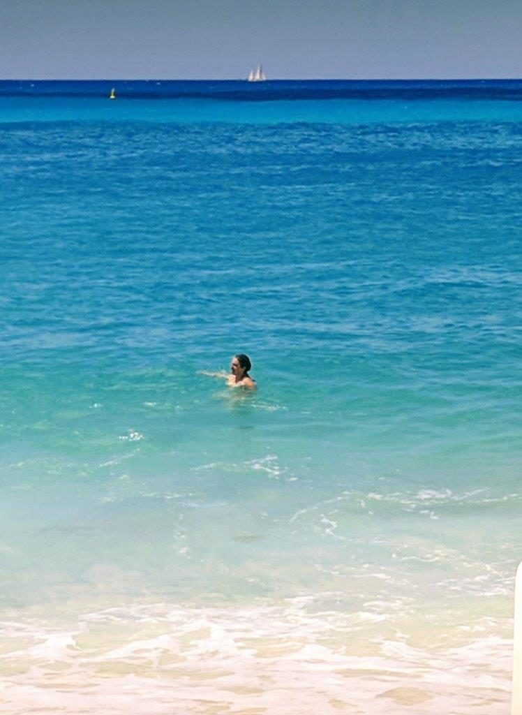 Audrey couldn't get enough of the blue Caribbean waters