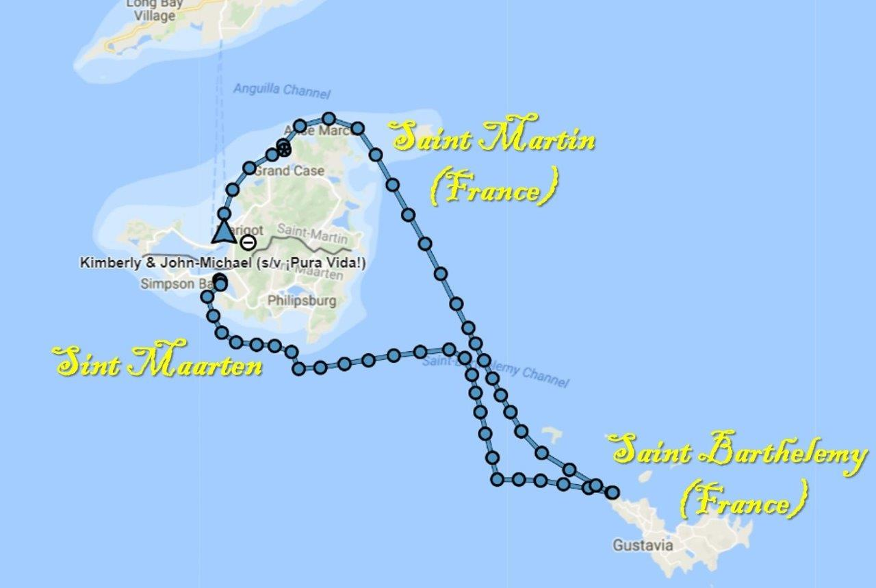 Sailing route to St. Barts and back