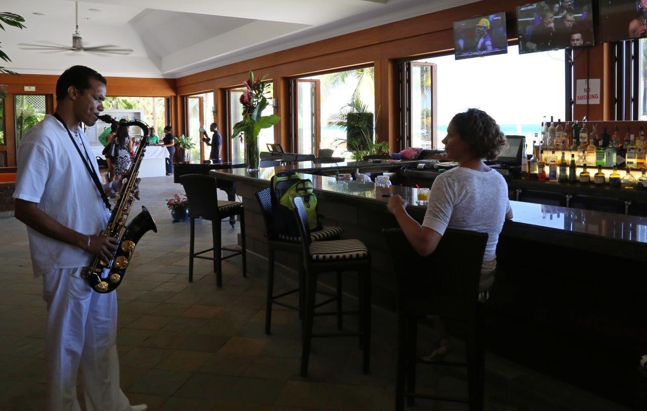 Kimberly was serenaded at Carambola Beach Resort