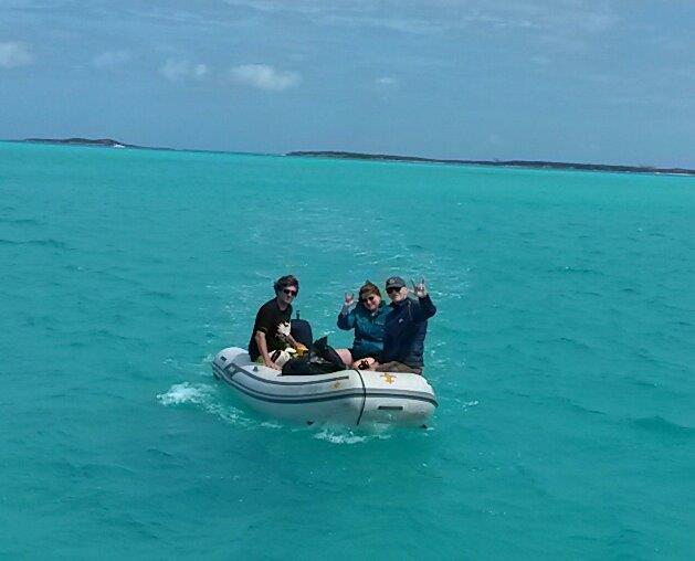 Dad & Bonus Mom (aka Earl & Karen) arrive at Pura Vida. It was their first time in a dinghy!