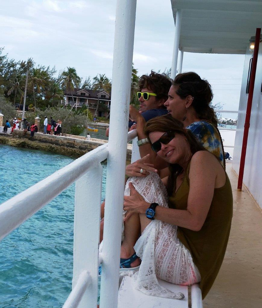 Enjoying the races from the deck of a docked ferry.
